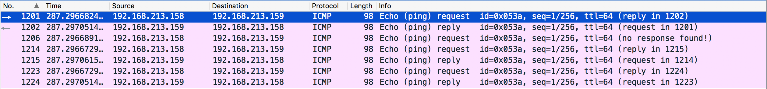 VM0 Ping VM1 Wireshark Result